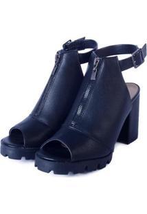 Ankle Boot Pop Me Zíper Frontal Com Salto Tratorado Feminina - Feminino-Preto