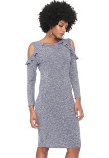 Vestido Facinelli By Mooncity Curto Off Shoulder Azul-Marinho
