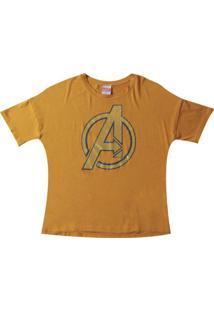 Blusa Manga Curta Estampada Com Fóil Amarelo