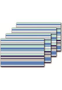 Jogo Americano Azul Com 4 Peças Listrado 567 Class Home