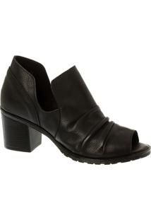 Sandal Boot Em Couro Preto Com Salto Bloco
