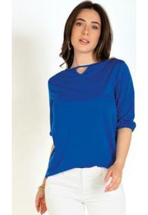 Blusa Azul Com Decote Com Gota