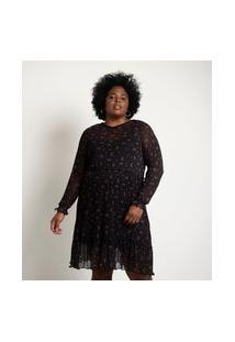 Vestido Curto Em Tule Estampa Lua E Estrelas Curve & Plus Size   Ashua Curve E Plus Size   Preto   Gg