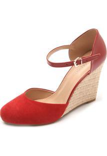 Sandália Dafiti Shoes Anabela Vermelha