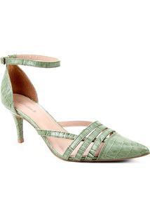 Scarpin Couro Shoestock Bico Fino Tiras E Pulseira Croco - Feminino-Verde