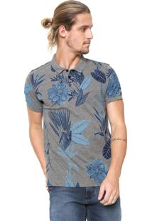 Camisa Polo Aramis Slim Floral Cinza