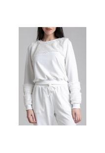 Blusa Moletom Pkd Com Recortes Em Pelo Off White