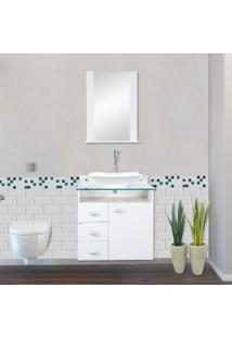 Gabinete Para Banheiro Com Espelheira E Cuba Classic Móveis Bonatto Branco/Carvalho Montreal