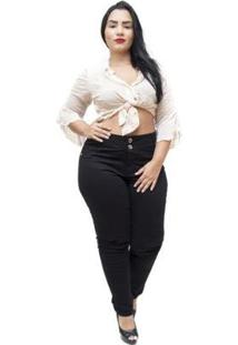 Calça Jeans Credencial Plus Size Skinny Danelise Feminina - Feminino-Preto