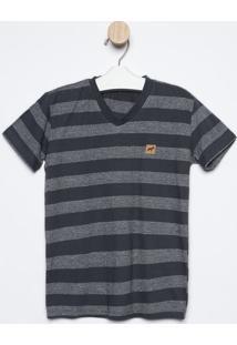 Camiseta Listrada - Cinza Escuro & Cinza Claro- Olivoliver