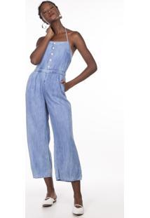 Macacao Khelf Jeans Frente Unica Delave