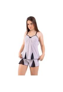 Baby Doll 4 Estações Tule Pijama Estampado Curto Feminino Alça Fina