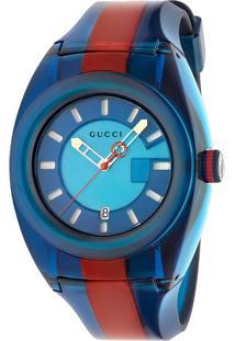 Relógio Gucci Masculino Borracha Azul E Vermelho - Ya137112