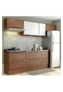 Cozinha Completa Multimóveis Com 6 Peças Calábria 5456R Nogueira/Branco