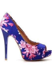 2a55892ec7 ... Peep Toe Royalz Tecido Floral Salto Alto Fino Cravo Feminino -  Feminino-Azul+Rosa