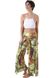 Calça Liquido Pantalona Com Amarração Tropical Verde Tropical