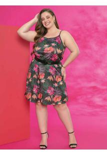 Vestido Floral Preto Com Saia Ampla Plus Size
