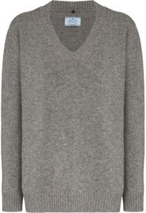 Prada Suéter Oversized Decote Em V De Cashmere E Lã Virgem Mistas - Cinza