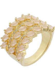 Anel Narcizza Com Três Fileiras De Navetes Quartzo Rosa Leitoso E Detalhes Em Zircônia Cristal Banhado No Ouro