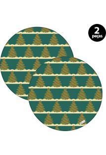 Capa Para Sousplat Mdecore Natal Arvores De Natal Verde 2Pçs