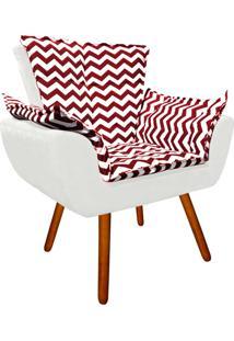 Poltrona Decorativa Opala Suede Composê Estampado Zig Zag Vermelho D79 E Suede Branco - D'Rossi