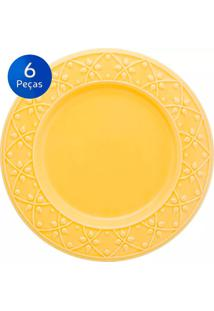 Conjunto De Pratos Rasos 6 Peças Mendi Sicilia - Oxford - Amarelo
