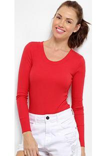 Body Calvin Klein Ml Canelado Feminino - Feminino-Vermelho