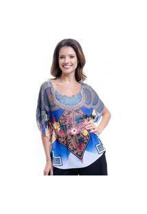 Blusa 101 Resort Wear Poncho Renda No Decote Cavado Crepe Estampado Geometrico