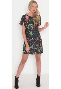 Vestido Com Recortes- Preto & Verde- Sommersommer