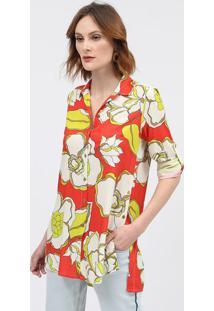 Camisa Floral - Laranja & Verdescalon