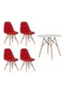 Conjunto 4 Cadeiras Eames Botonê Vermelha + 1 Mesa Eames 80Cm Branca Base Madeira Sala Cozinha