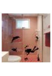 Adesivo Para Box Banheiro Mergulhador - Medio