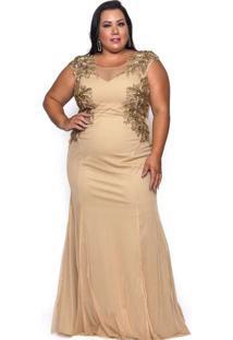 Vestido Almaria Plus Size Pianeta Longo Renda Dour