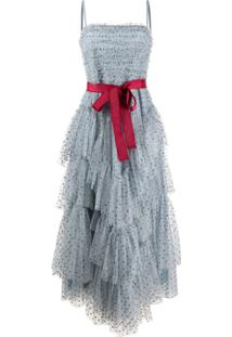 Redvalentino Vestido Com Tule E Amarração Com Brilho - Azul