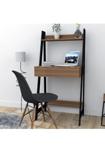 Escrivaninha Estante Com 1 Gaveta Trend Office Bliv - Castanho E Preto