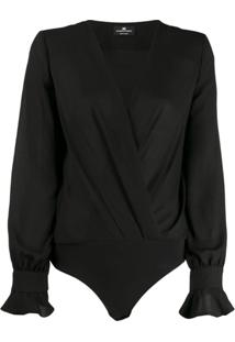 Elisabetta Franchi Wrap Bodysuit - Preto