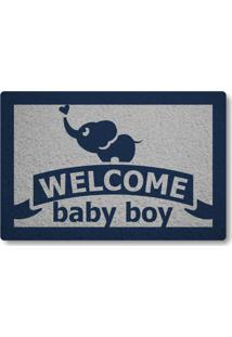 Tapete Capacho Welcome Baby Boy - Prata