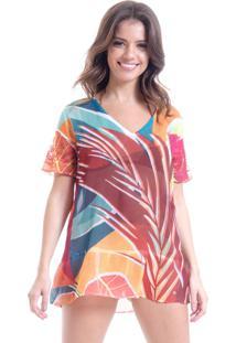 Blusa 101 Resort Wear Decote V Em Silk Estampada Folhas Geométricas Multicolorido