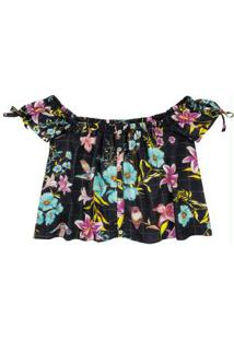 Blusa Preta Ciganinha Floral Lurex Enfim