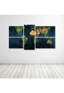 Quadro Decorativo - Mapa Mundi - Composto De 5 Quadros - Multicolorido - Dafiti