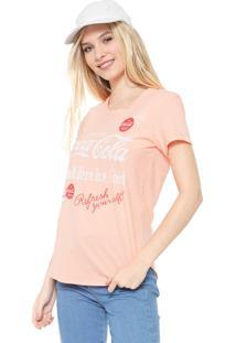 Camiseta Coca-Cola Jeans Lettering Coral - Coral - Feminino - Algodã£O - Dafiti