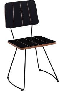 Cadeira Costela Meia Lua-Daf Mobiliário - Preto