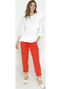 Blusa Lisa Com Babados - Branca - Colccicolcci