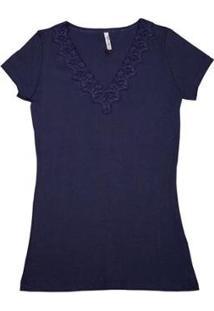 Blusa Via Costeira Em Algodão Com Renda E Strass Feminina - Feminino-Azul Escuro