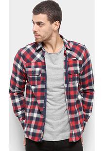 Camisa Xadrez Manga Longa Flanelada Gangster Bolsos Masculina - Masculino-Vermelho Escuro