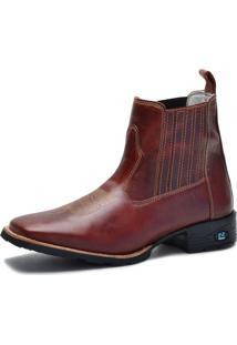Bota Country Over Boots Bico Quadrado Couro Vermelho Escuro