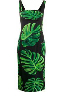Dolce & Gabbana Vestido Slim Com Estampa De Folhas - Preto
