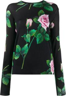 Dolce & Gabbana Vestido Com Estampa De Rosas Tropicais - Preto