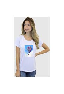 Camiseta Suffix Blusa Branca Basica Gola Redonda Estampa Casinha Com Balões Up
