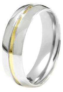Aliança Anatômica Abaulada De Prata C/ Filete De Ouro (Unidade) - Unissex-Prata